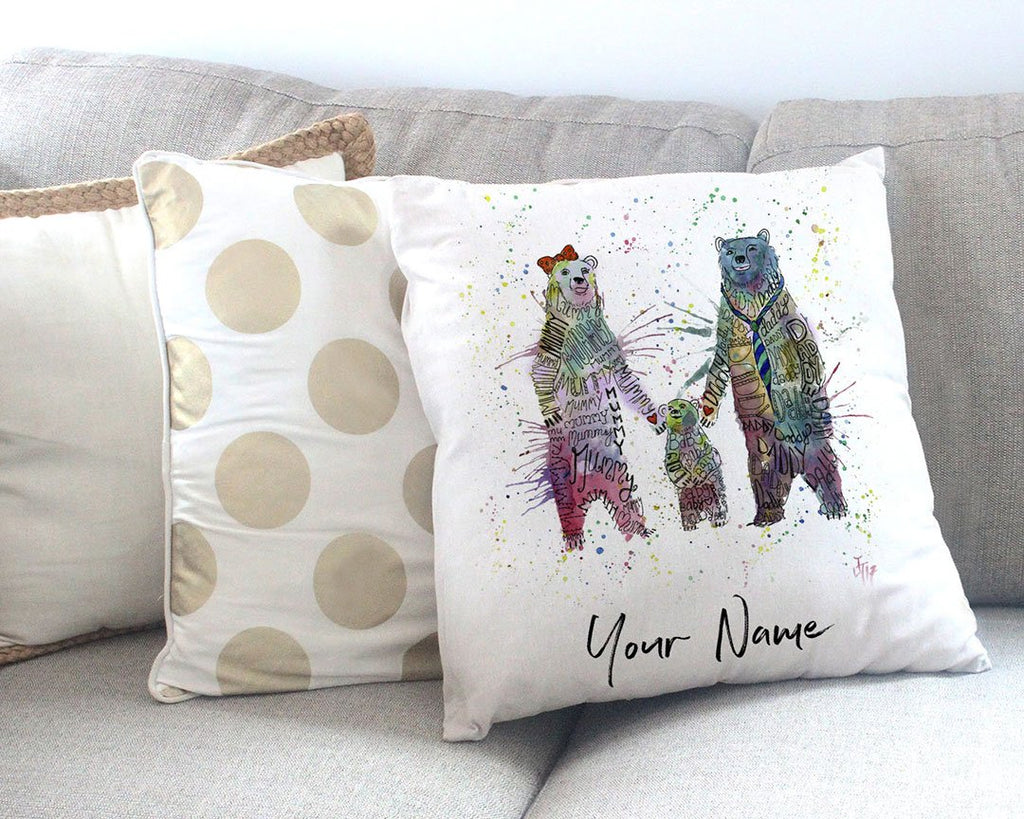 Mummy, Babby, Daddy Bears Personalised Canvas Cushion Cover