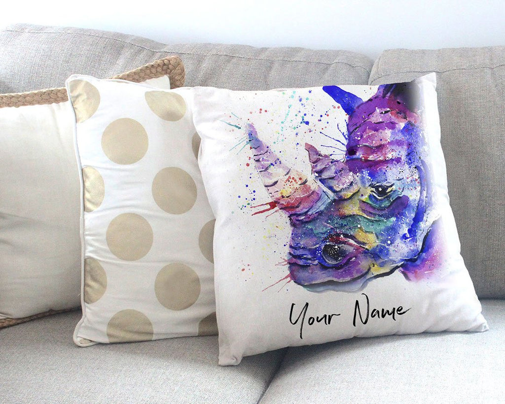 """Winston"" Rhino Personalised Canvas Cushion Cover"