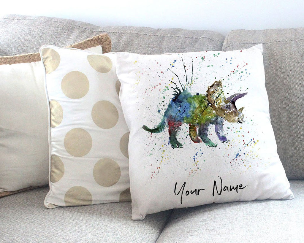 """Steve"" Triceratops Personalised Canvas Cushion Cover"