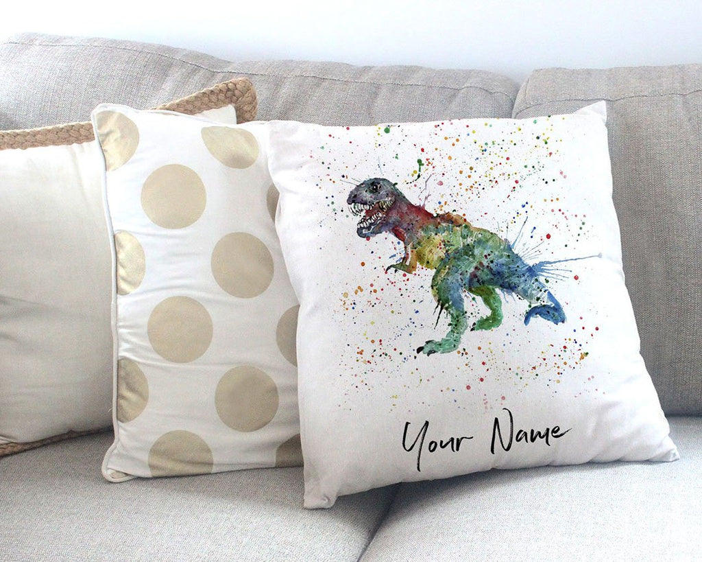 """Gary"" T-Rex Personalised Canvas Cushion Cover"