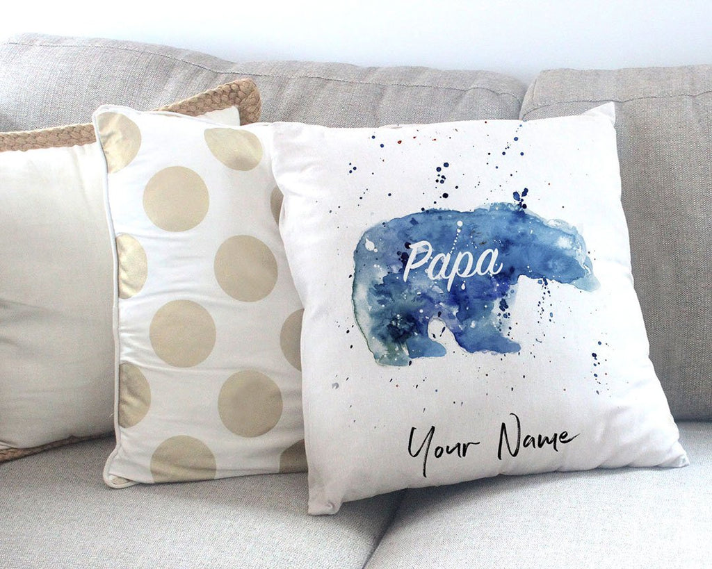 Papa Bear Personalised Canvas Cushion Cover