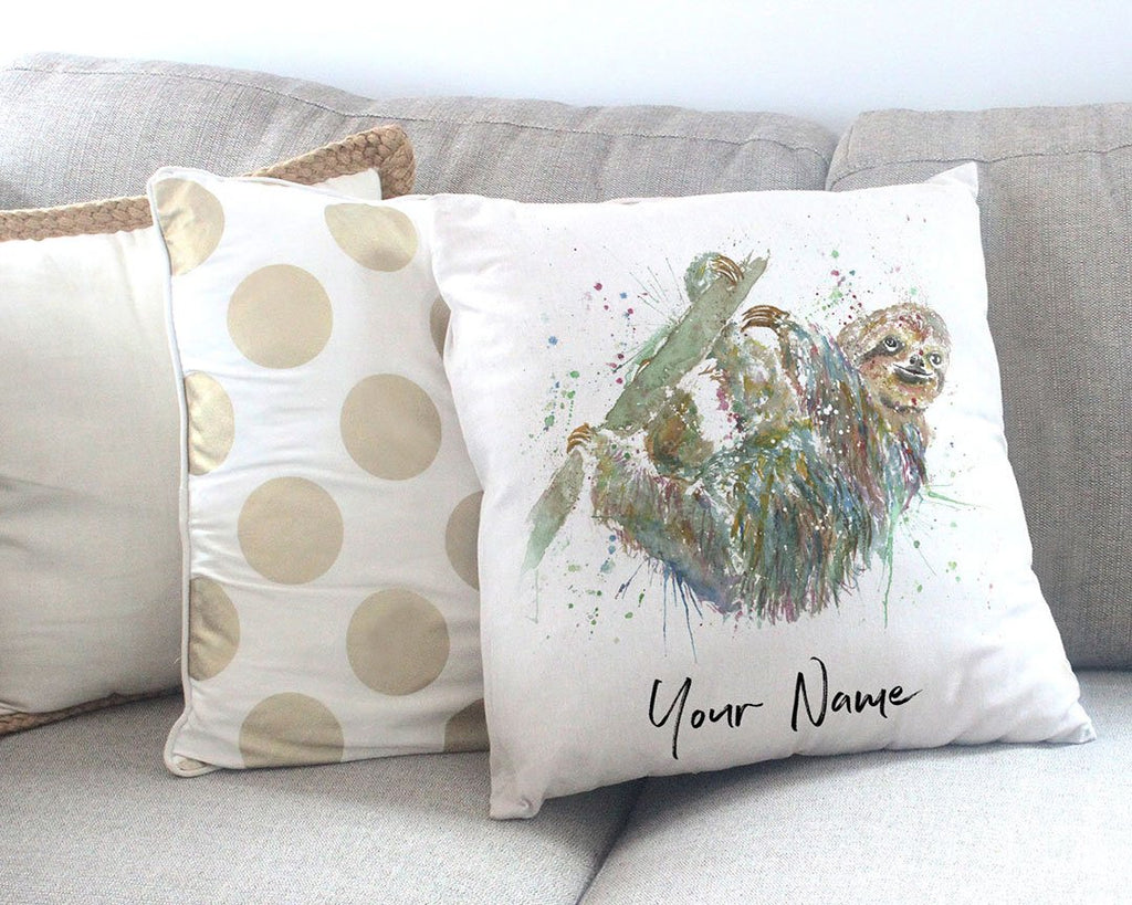 Hey Mr Sloth Personalised Canvas Cushion Cover