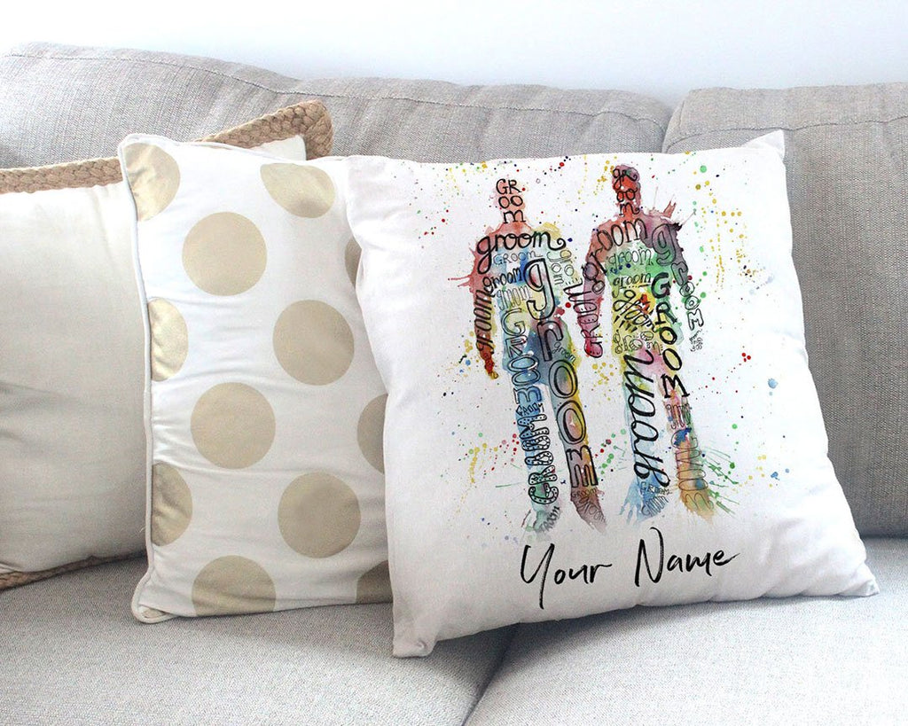 Groom & Groom Personalised Canvas Cushion Cover