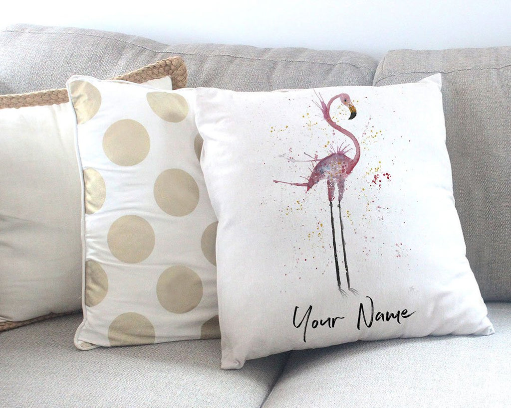 """Sheila"" Flamingo Personalised Canvas Cushion Cover"