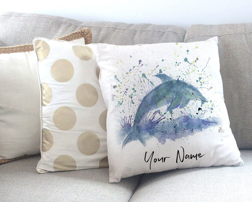 """Bottle"" Dolphin Personalised Canvas Cushion Cover"