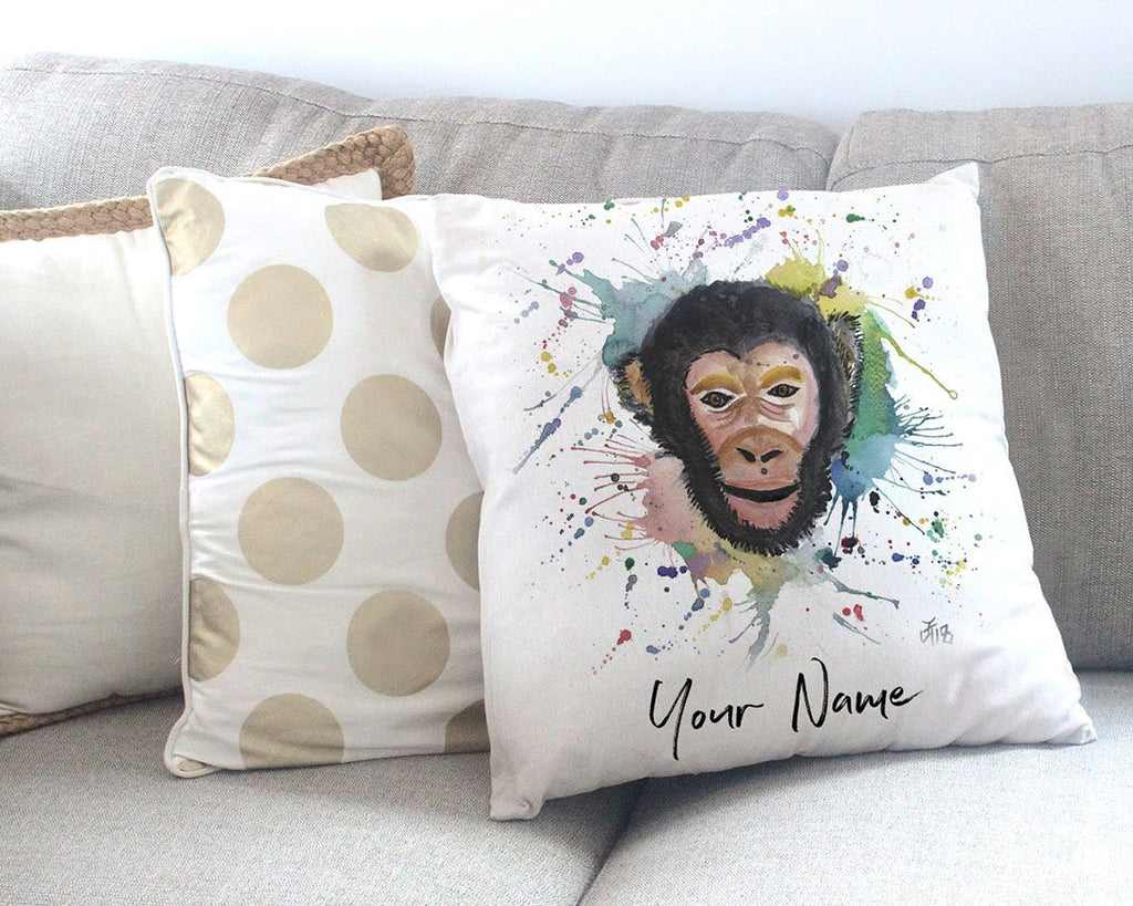 """Ciril"" Monkey Personalised Canvas Cushion Cover"