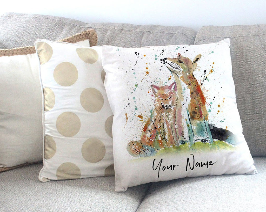 """Always Us"" Foxes Personalised Canvas Cushion Cover"