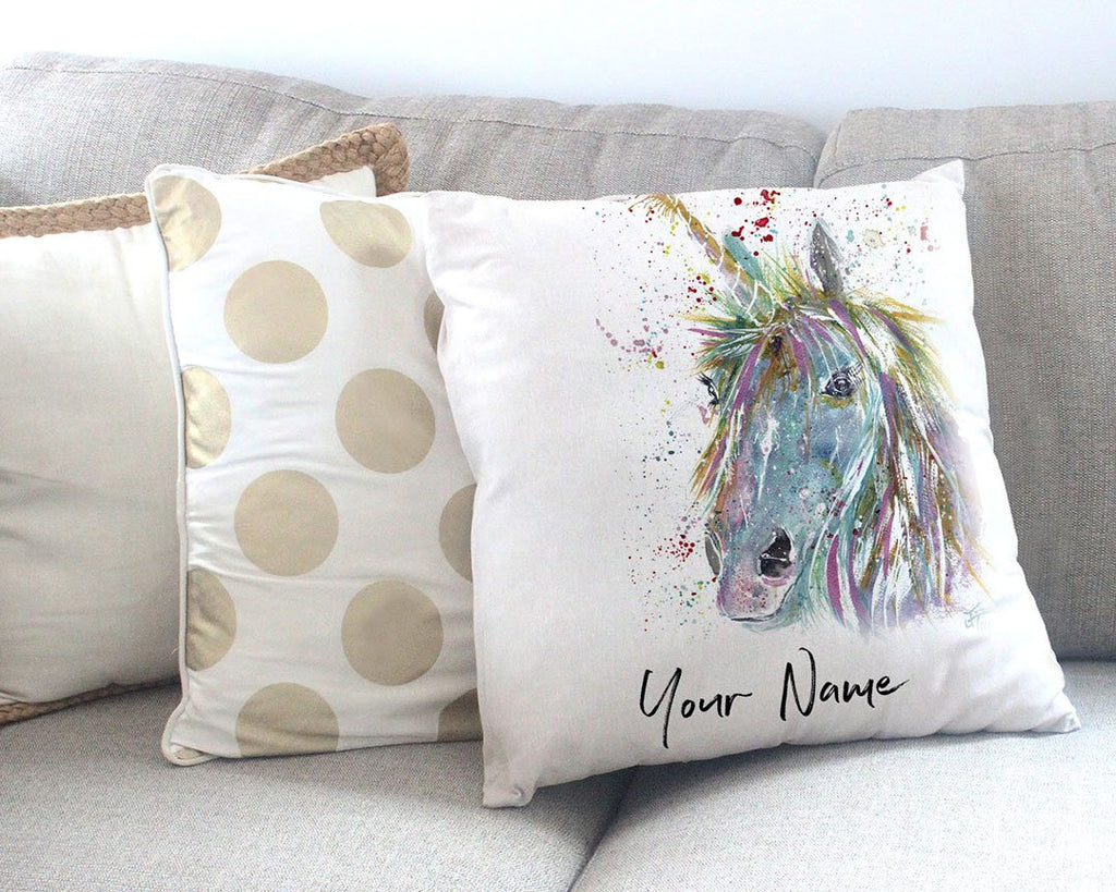 """Millie"" Unicorn Personalised Canvas Cushion Cover"