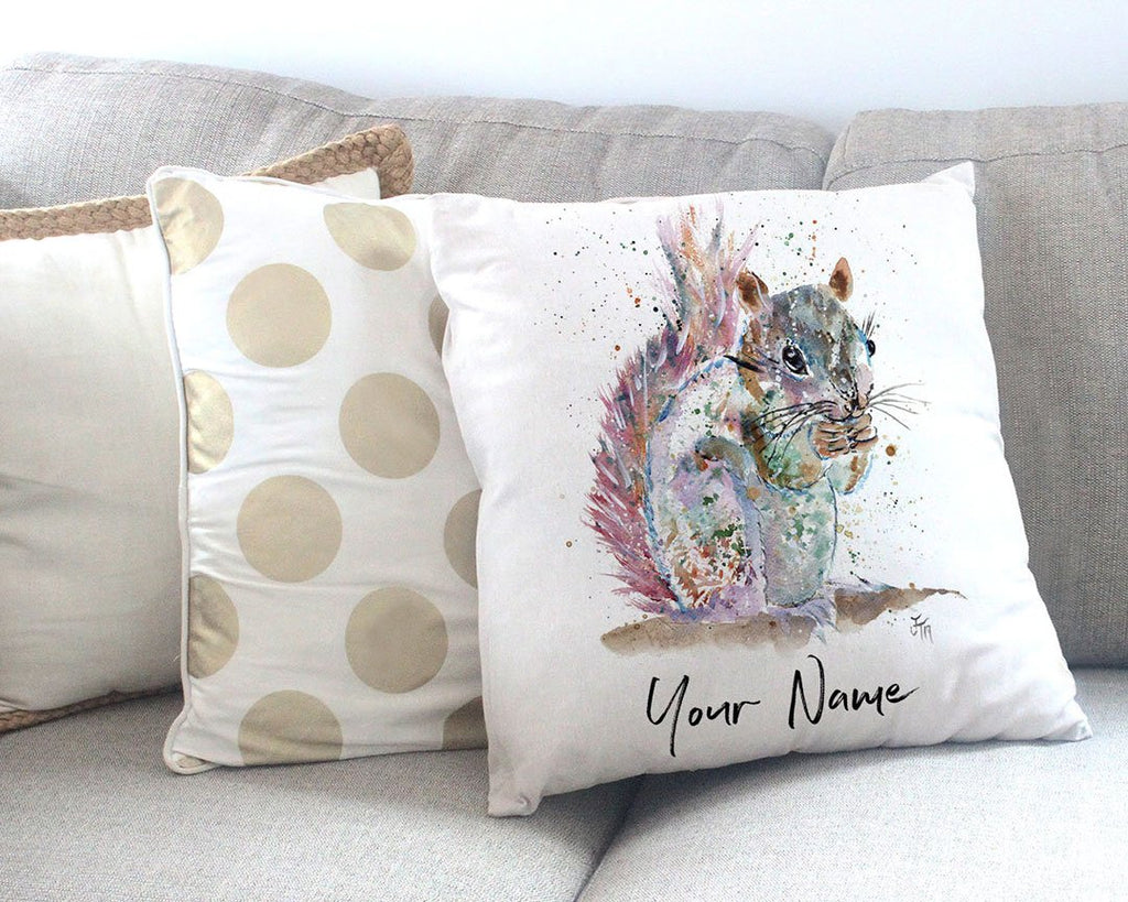"""Nige"" Squirrel Personalised Canvas Cushion Cover"