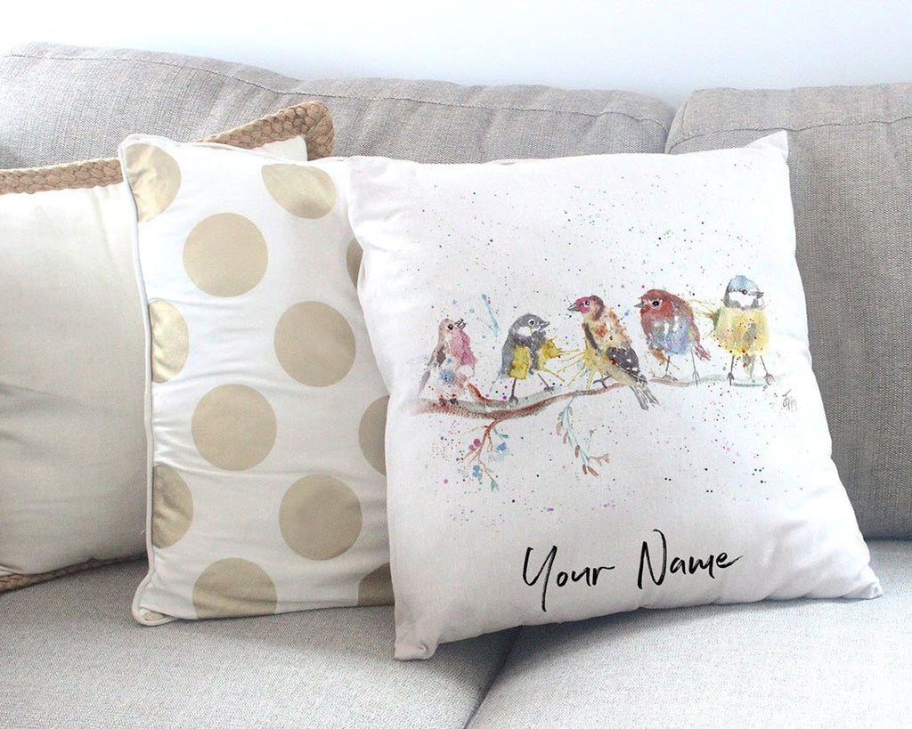"""Tree Friends"" Birds 2 Personalised Canvas Cushion Cover"