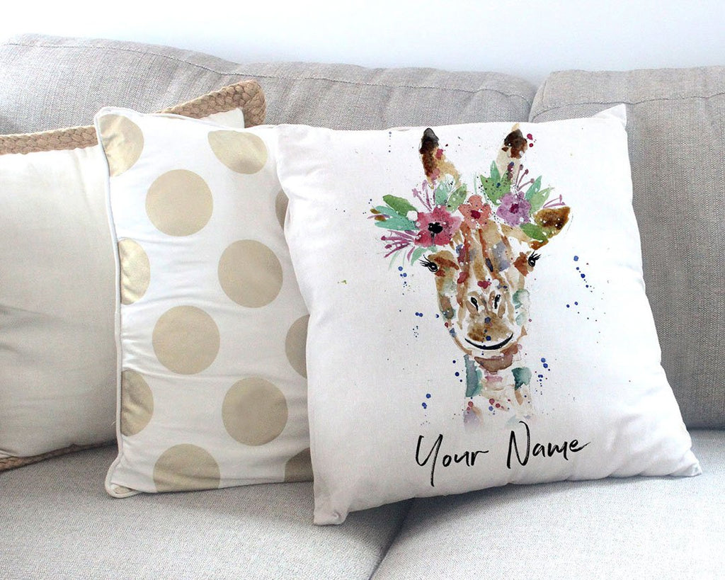 """Margot"" Giraffe Personalised Canvas Cushion Cover"