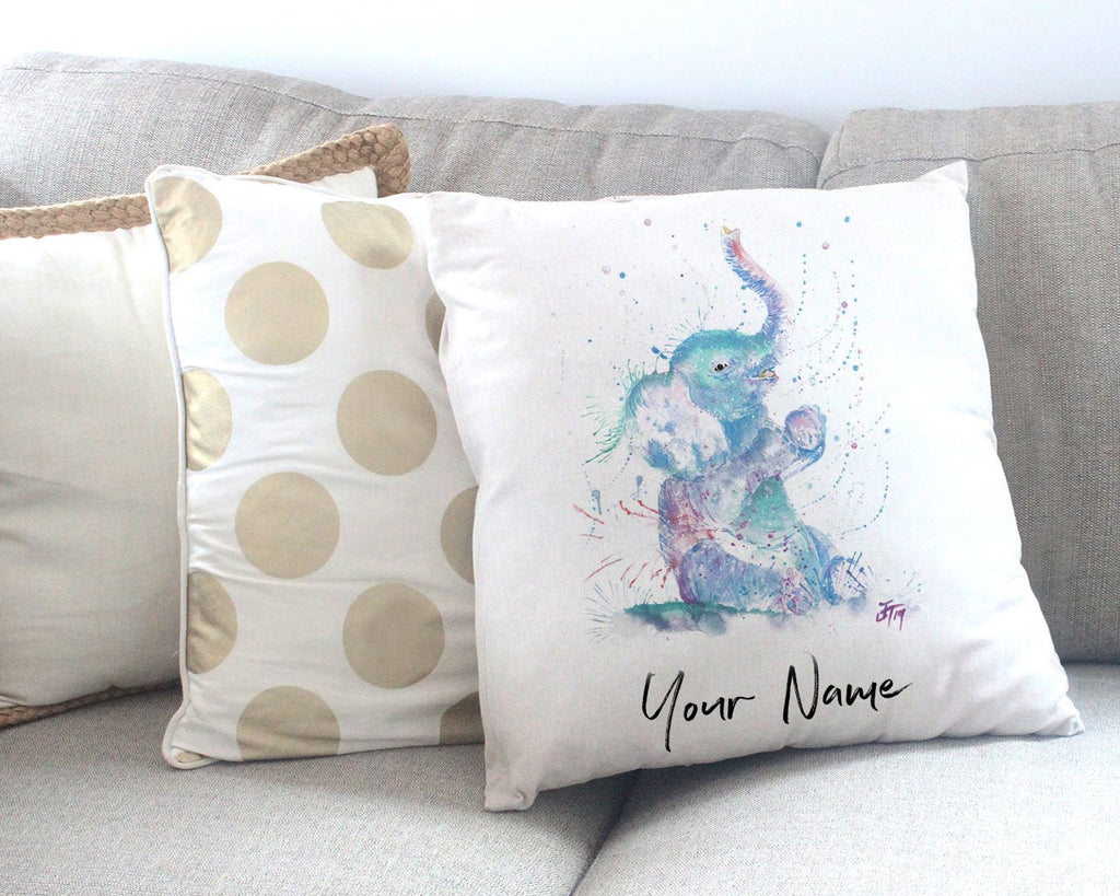 """Arthur"" Baby Elephant Personalised Canvas Cushion Cover"