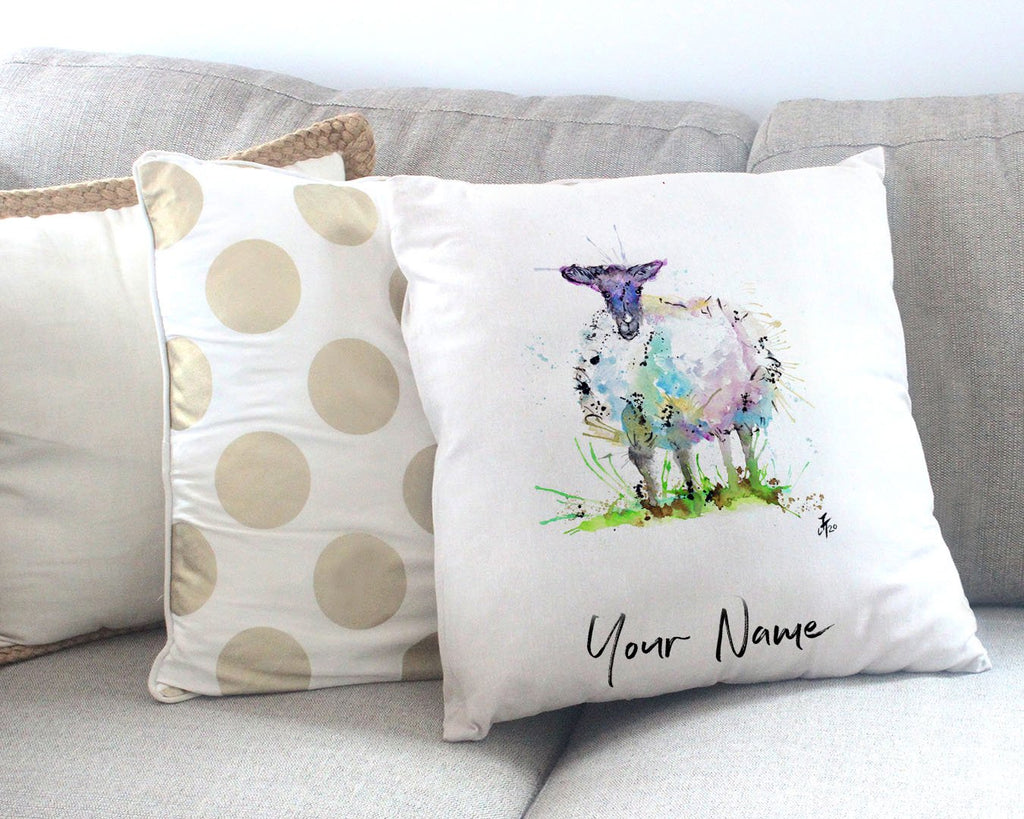 """I Adore Ewe"" Sheep Personalised Canvas Cushion Cover"