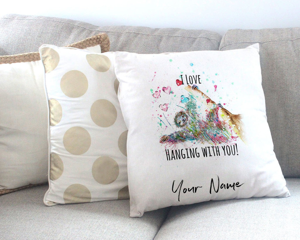 """I Love Hanging With You"" Sloth Personalised Canvas Cushion Cover"