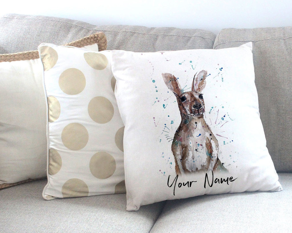"""Casey"" Kangaroo Personalised Canvas Cushion Cover"
