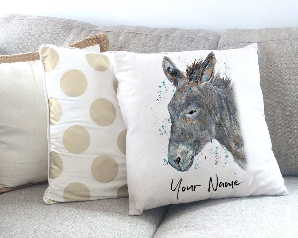 """Dennis"" Donkey Personalised Canvas Cushion Cover"