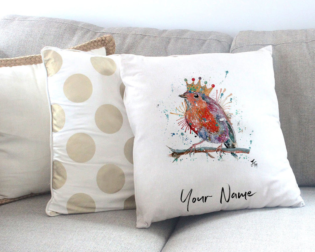 """Clancy"" Robin Personalised Canvas Cushion Cover"