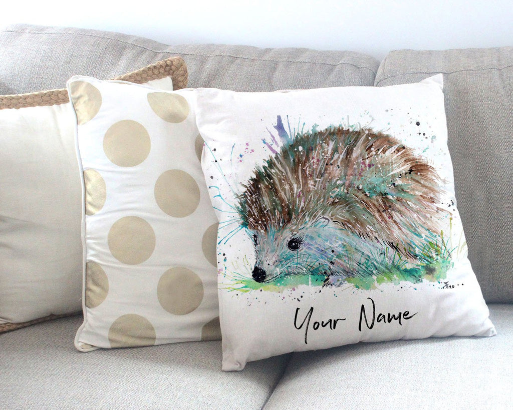 """Sweet"" Hedgehog Personalised Canvas Cushion Cover"