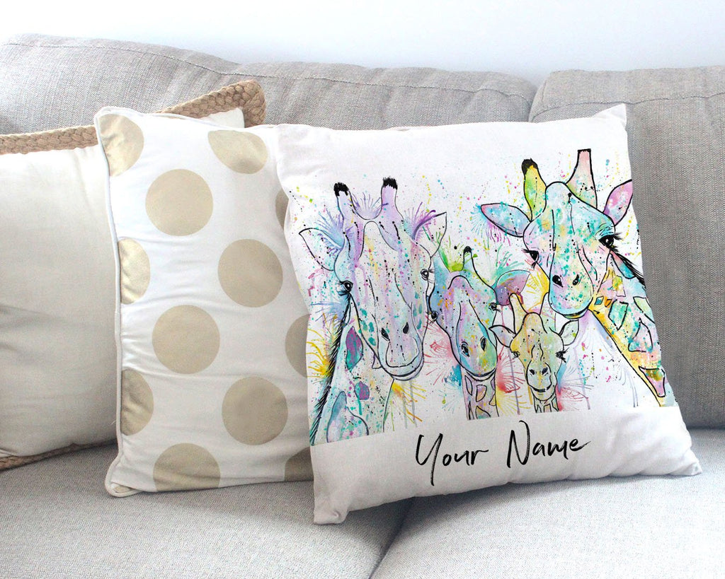 Hello! Giraffes Personalised Canvas Cushion Cover