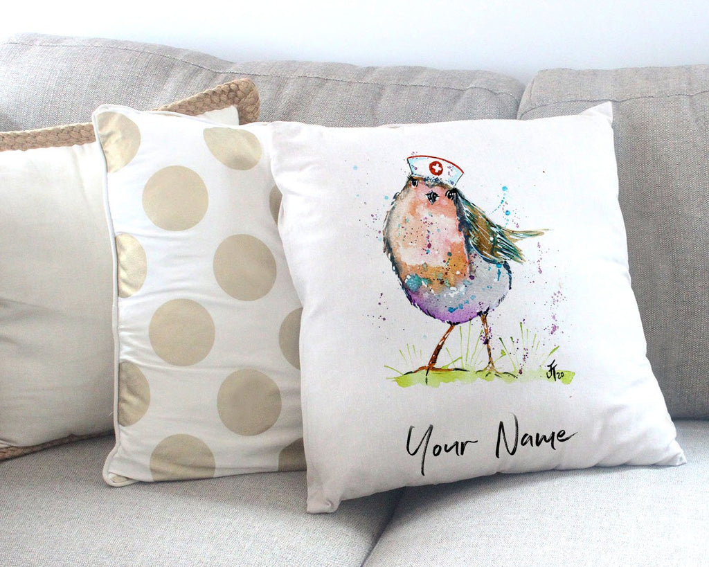 """Saviour"" Robin Personalised Canvas Cushion Cover"