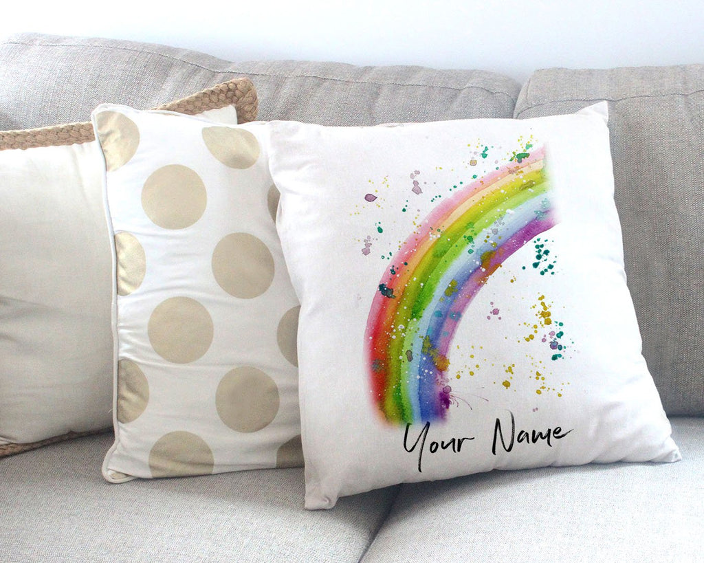 Rainbow Personalised Canvas Cushion Cover