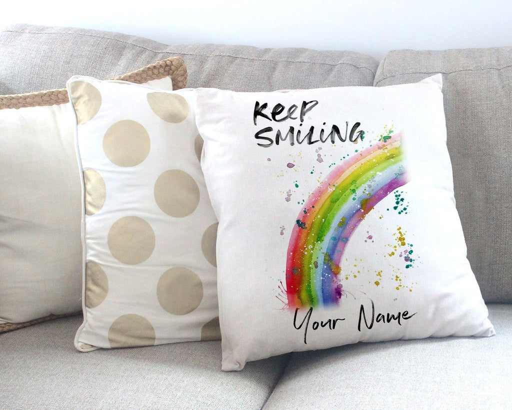 """Keep Smiling"" Rainbow Personalised Canvas Cushion Cover"