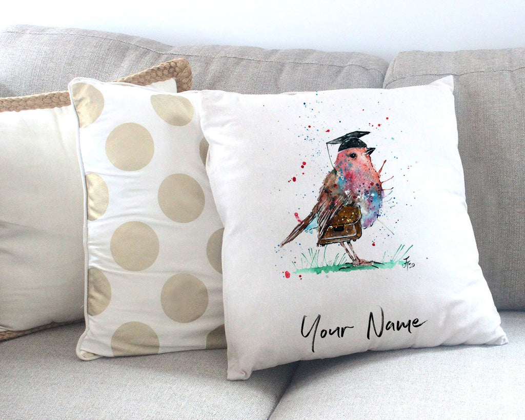 """Teach"" Robin Personalised Canvas Cushion Cover"