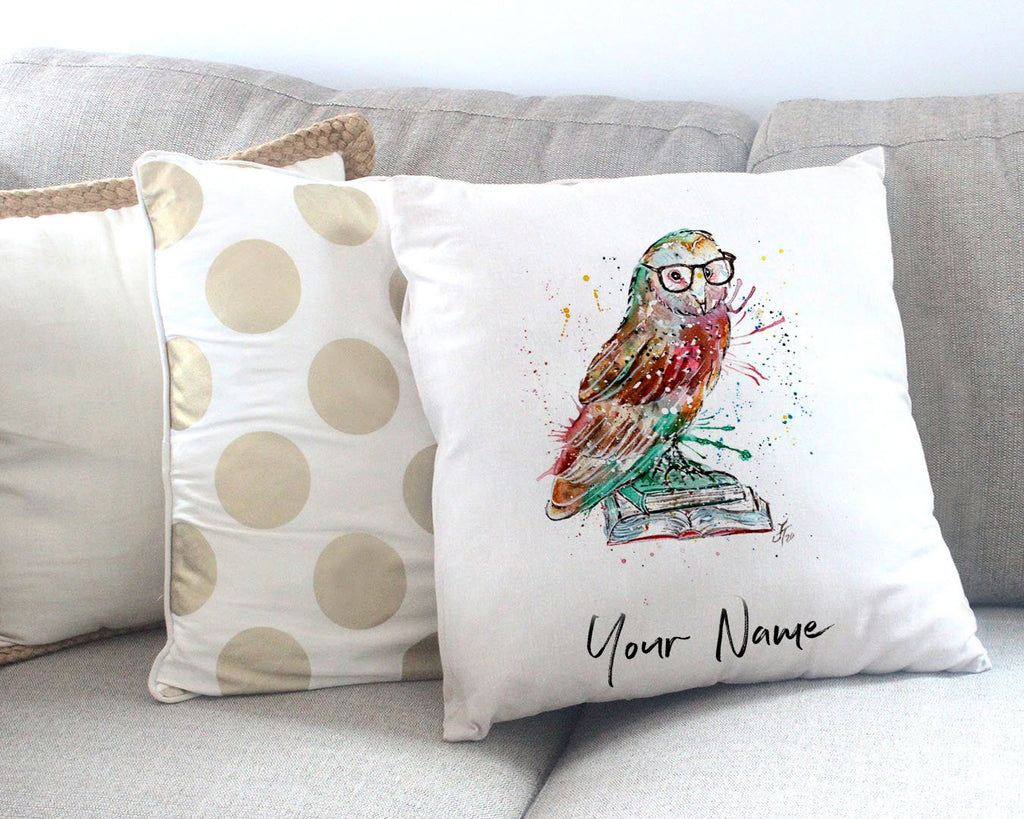 """Knowledge"" Owl Personalised Canvas Cushion Cover"