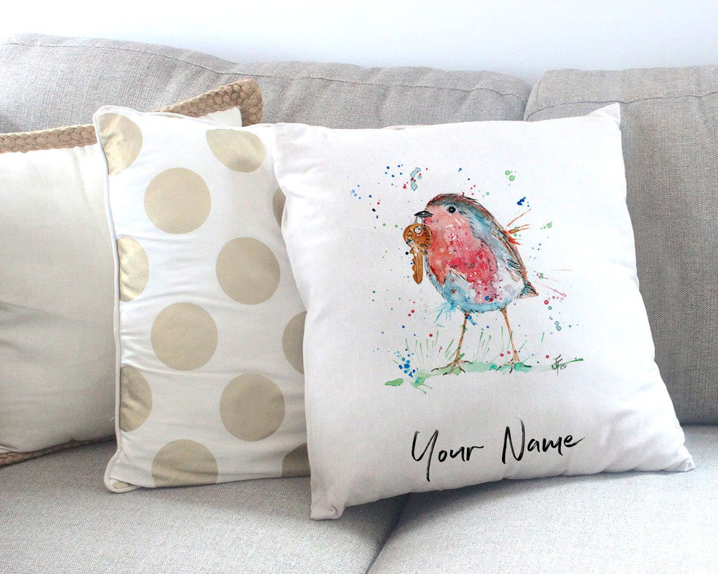 """Grateful"" Robin Personalised Canvas Cushion Cover"