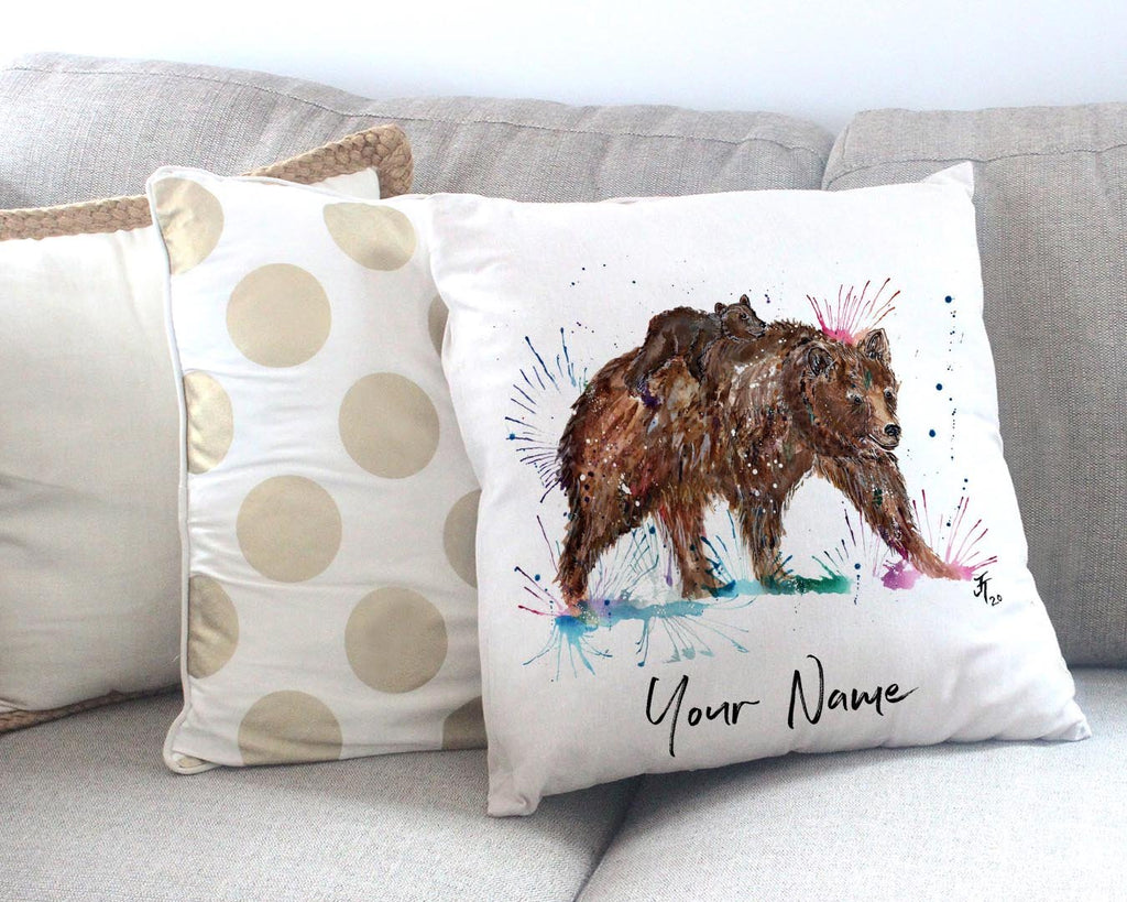 """Precious"" Bears Personalised Canvas Cushion Cover"