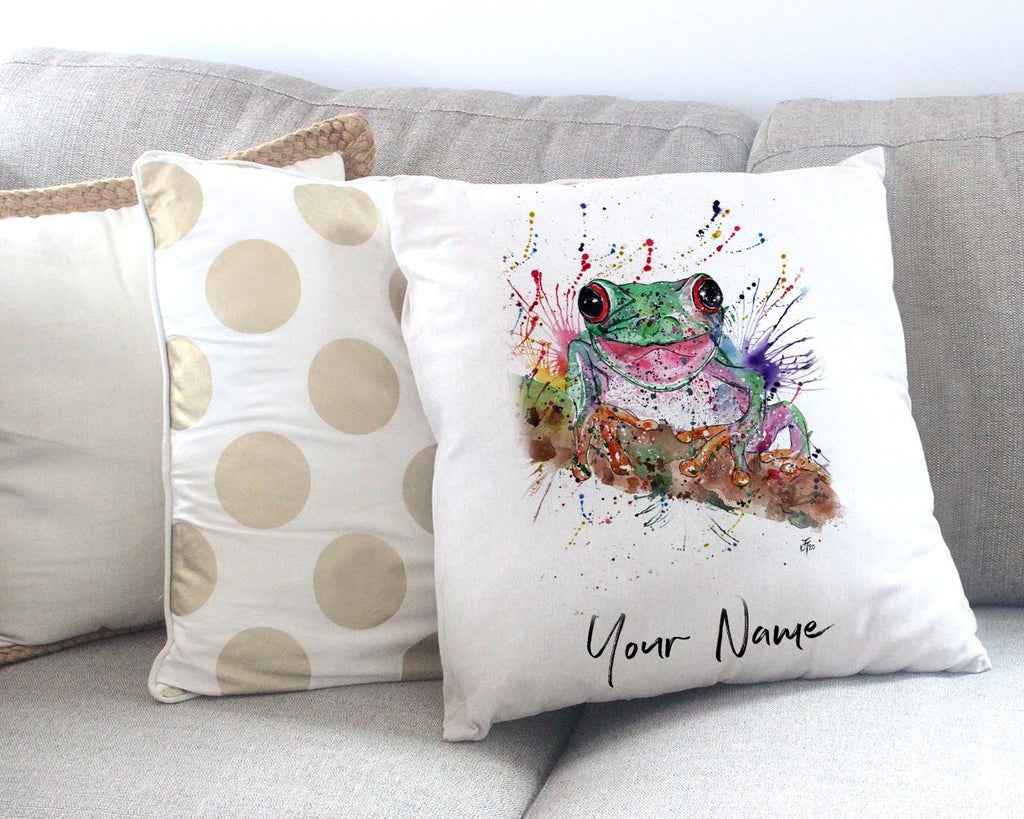 Chris the Frog Personalised Canvas Cushion Cover