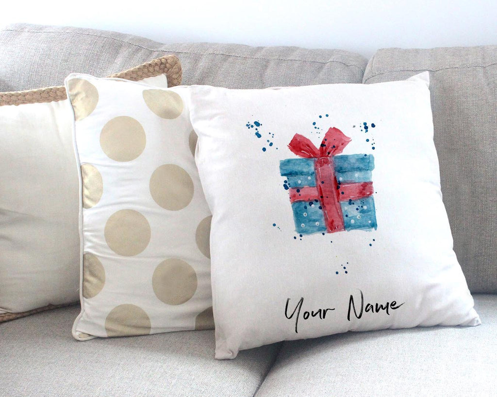 Christmas Present Personalised Canvas Cushion Cover