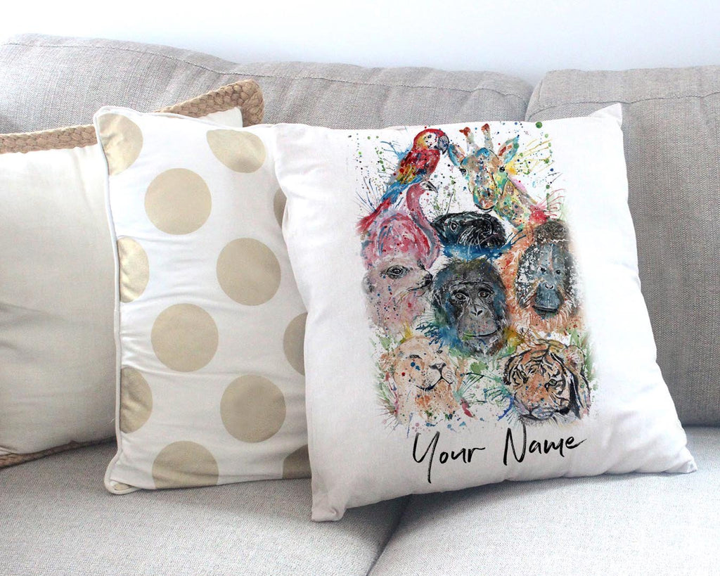 Zoo Personalised Canvas Cushion Cover
