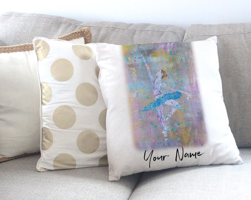 """Dainty"" Ballerina Personalised Canvas Cushion Cover"