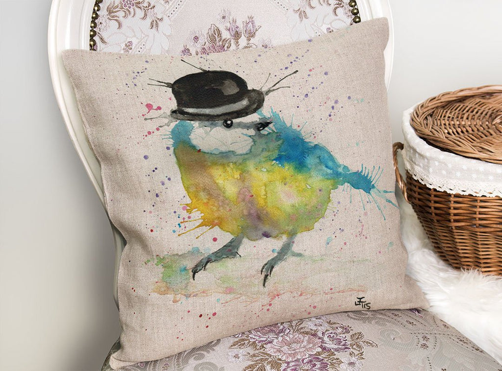 Bluetit Bowler Linen Cushion Cover