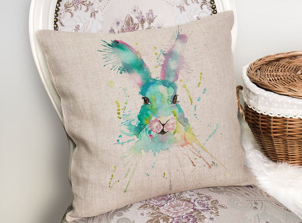 Pink & Green Hare Linen Cushion Cover