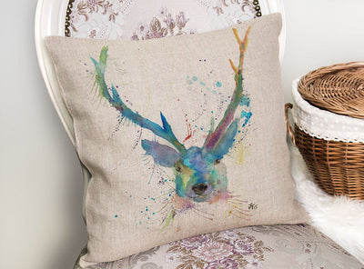 """Bruce"" Stag Linen Cushion Cover"