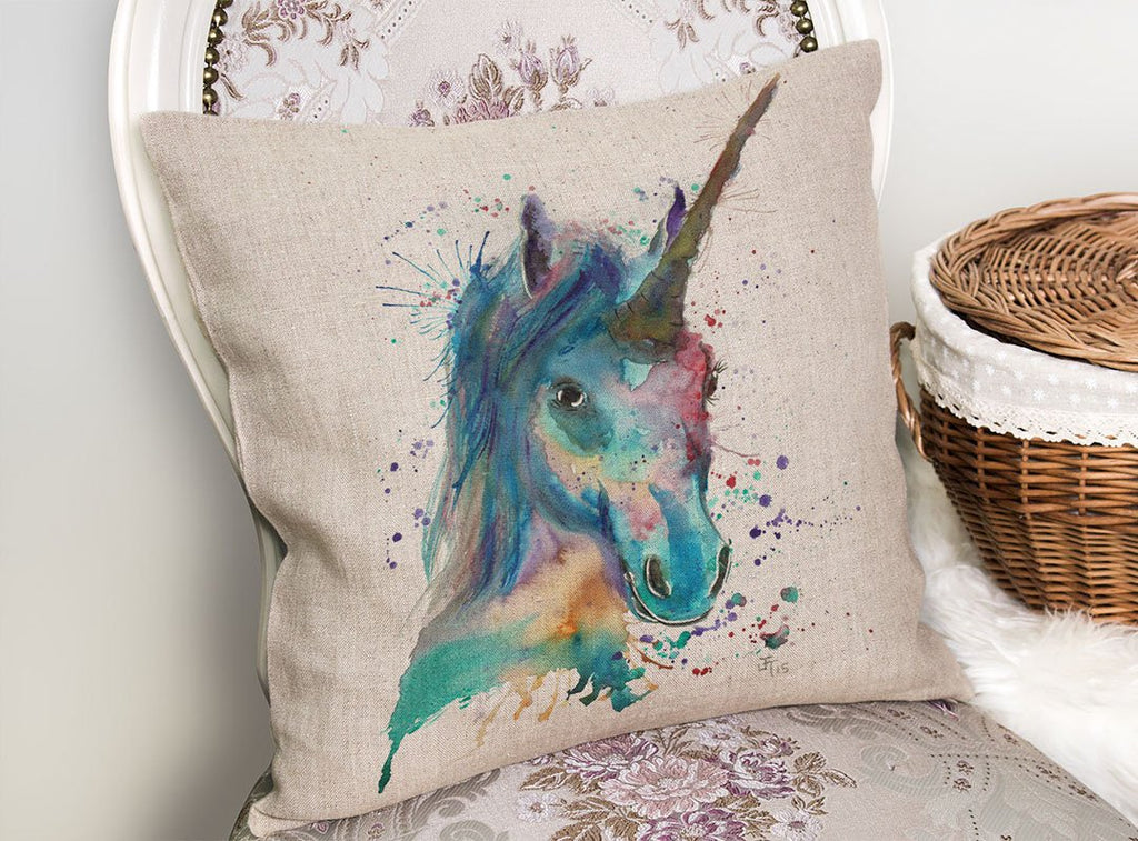 """Marge"" Unicorn Linen Cushion Cover"