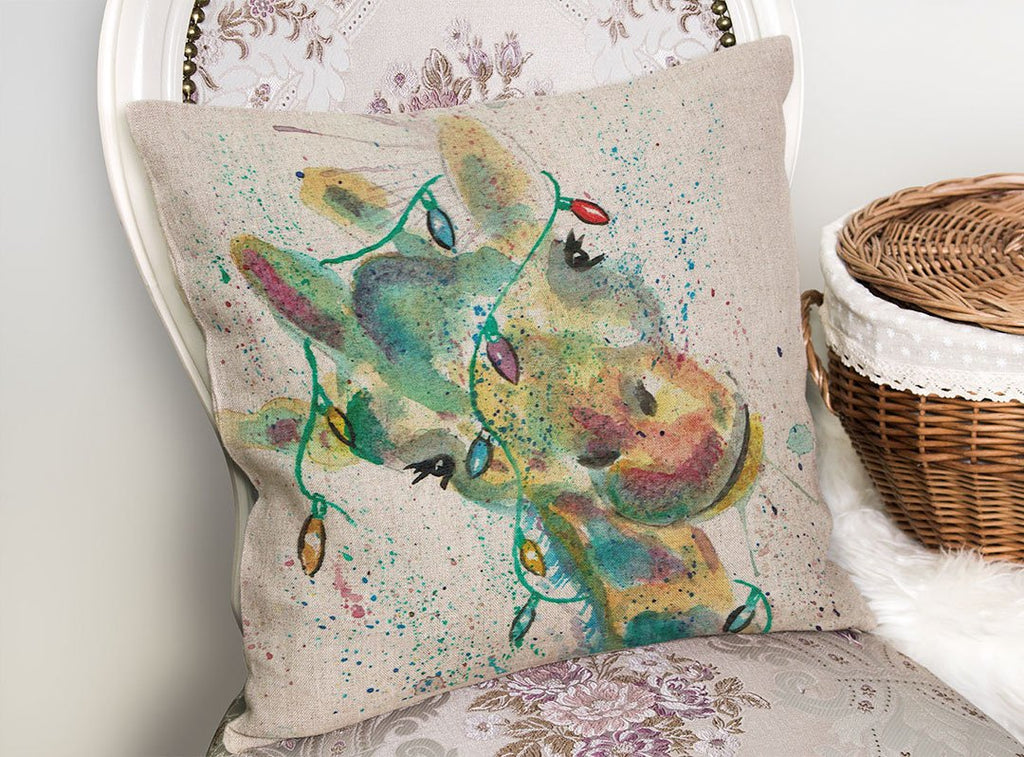 "Christmas ""Hattie"" Giraffe Linen Cushion Cover"