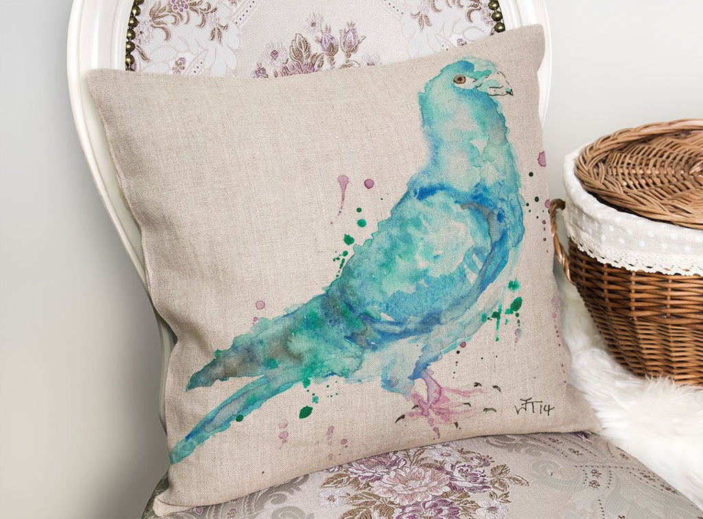 """Pete"" Pigeon Linen Cushion Cover"