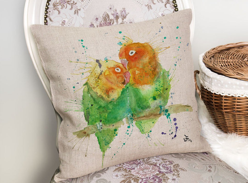 Love Birds Linen Cushion Cover