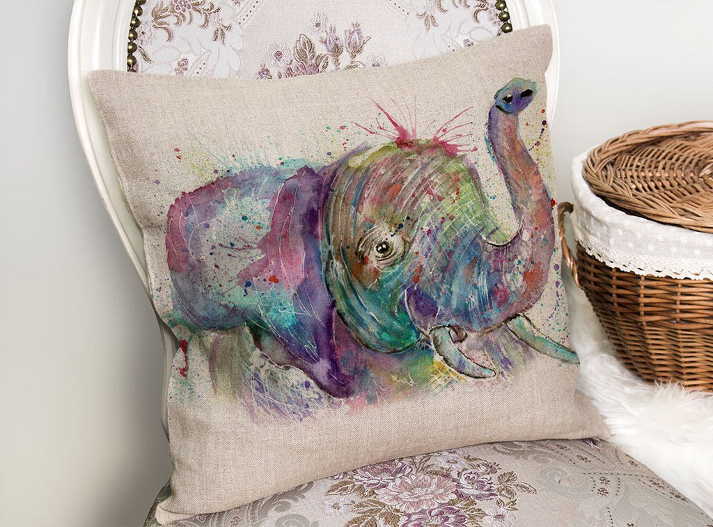 """Ele"" Elephant Linen Cushion Cover"