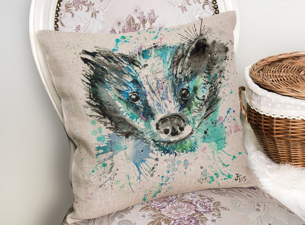 """Baz"" Badger Linen Cushion Cover"