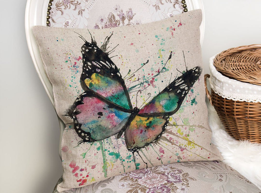 """Flutter"" Butterfly Linen Cushion Cover"