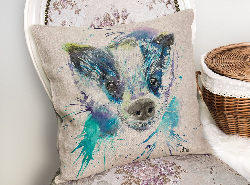"""Badge"" Badger Linen Cushion Cover"