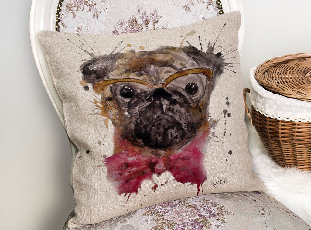 Pug Linen Cushion Cover