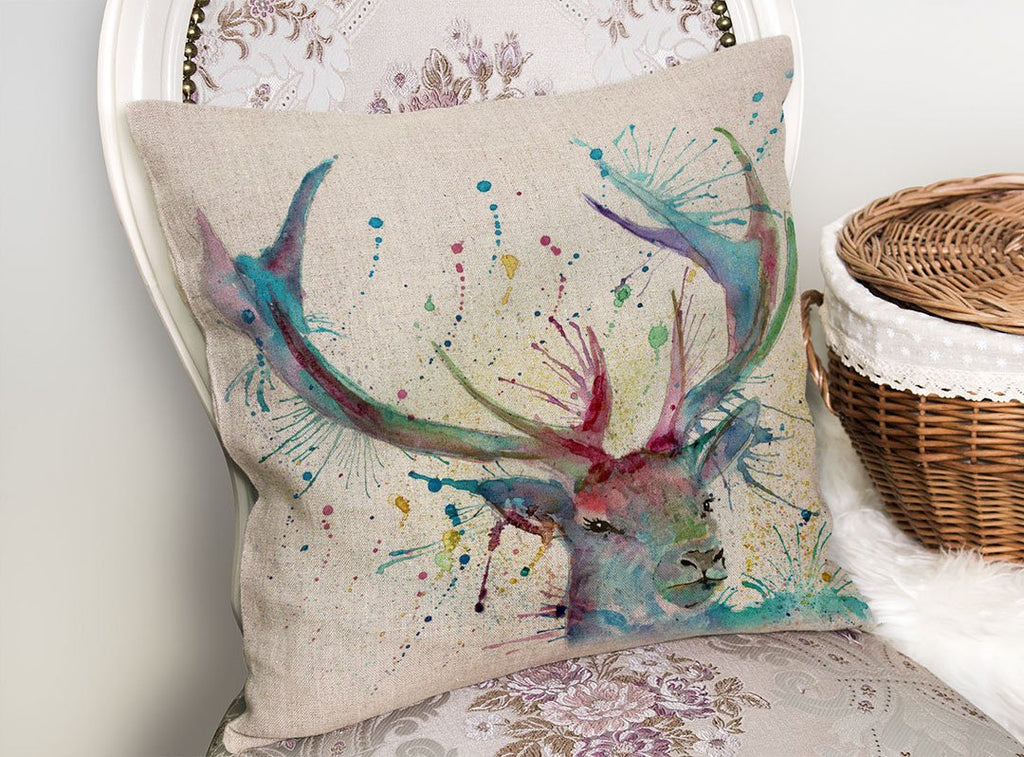 """Proud"" Stag Linen Cushion Cover"