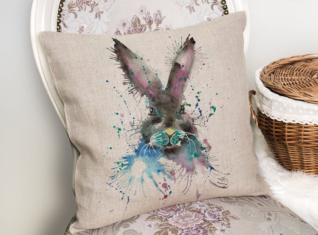 """Hi!"" Black Bunny Linen Cushion Cover"