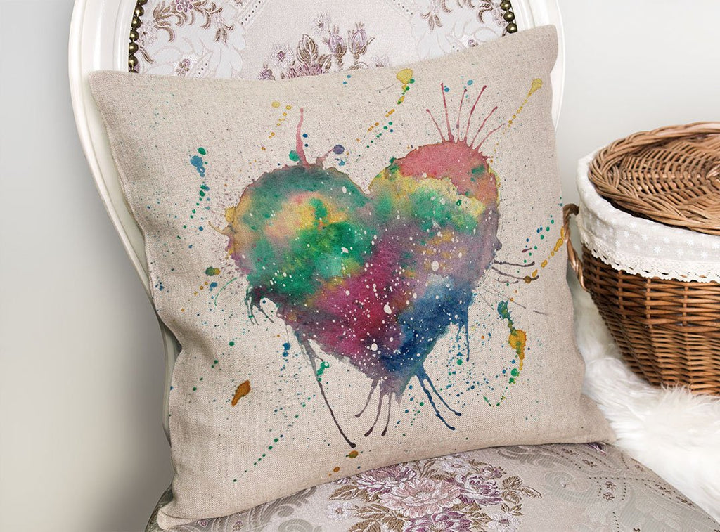 Heart Linen Cushion Cover