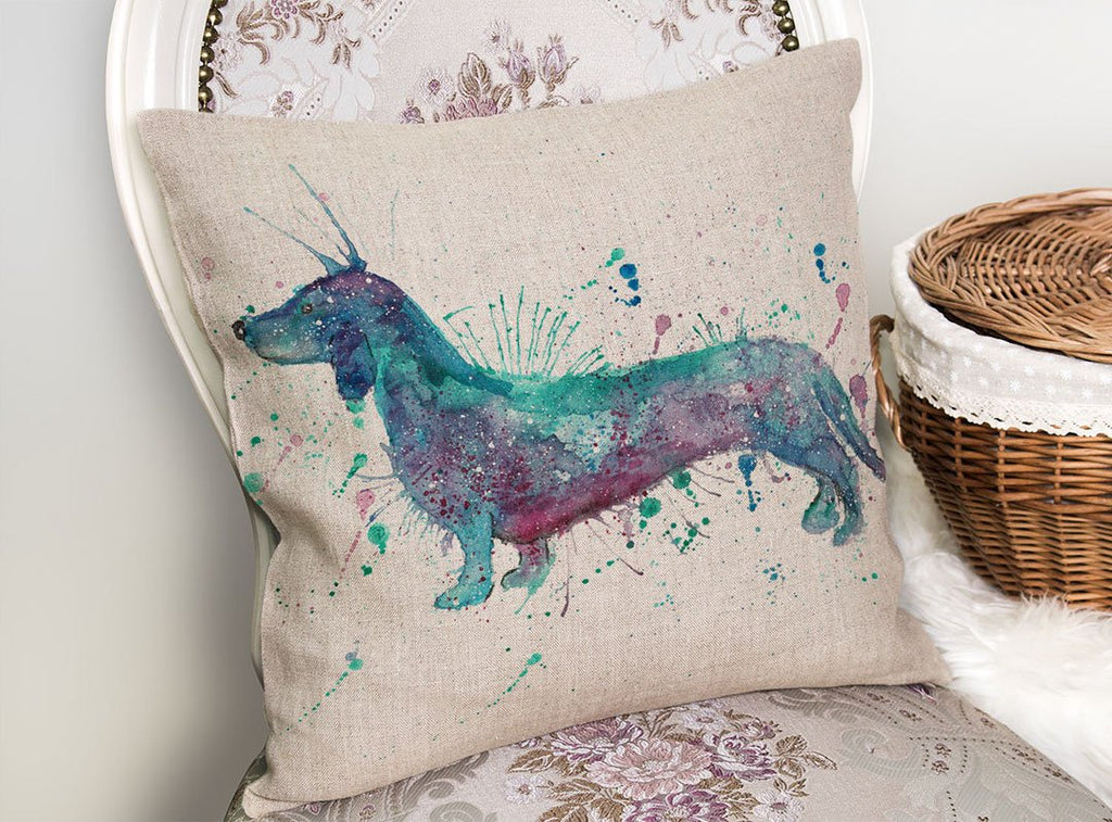 Mr Sausage Dog Linen Cushion Cover